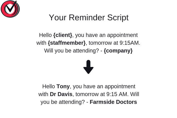 An appointment reminder template example.